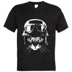 Чоловіча футболка з V-подібним вирізом Cat in a helmet silhouette