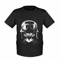 Дитяча футболка Cat in a helmet silhouette