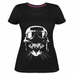 Жіноча стрейчева футболка Cat in a helmet silhouette