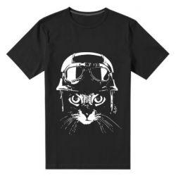 Чоловіча стрейчева футболка Cat in a helmet silhouette
