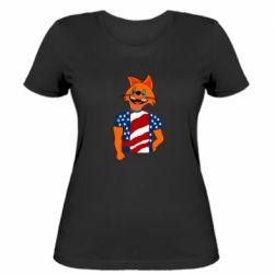 Женская футболка Cat in American Flag T-shirt