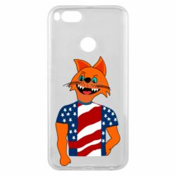 Чехол для Xiaomi Mi A1 Cat in American Flag T-shirt