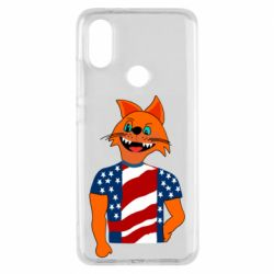 Чехол для Xiaomi Mi A2 Cat in American Flag T-shirt