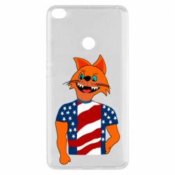 Чехол для Xiaomi Mi Max 2 Cat in American Flag T-shirt