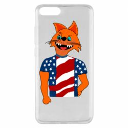 Чехол для Xiaomi Mi Note 3 Cat in American Flag T-shirt