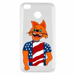 Чехол для Xiaomi Redmi 4x Cat in American Flag T-shirt