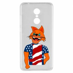 Чехол для Xiaomi Redmi 5 Cat in American Flag T-shirt