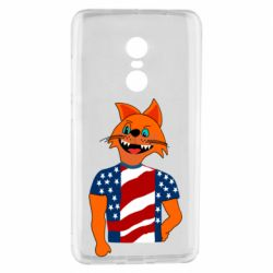 Чехол для Xiaomi Redmi Note 4 Cat in American Flag T-shirt