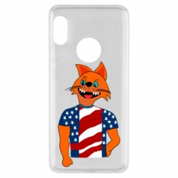 Чехол для Xiaomi Redmi Note 5 Cat in American Flag T-shirt