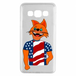 Чехол для Samsung A3 2015 Cat in American Flag T-shirt