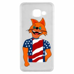 Чехол для Samsung A3 2016 Cat in American Flag T-shirt