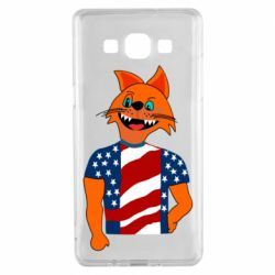 Чехол для Samsung A5 2015 Cat in American Flag T-shirt