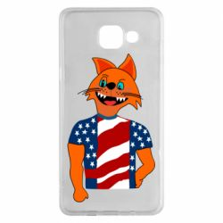 Чехол для Samsung A5 2016 Cat in American Flag T-shirt