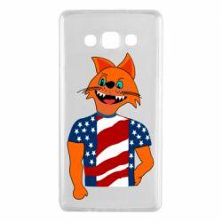 Чехол для Samsung A7 2015 Cat in American Flag T-shirt