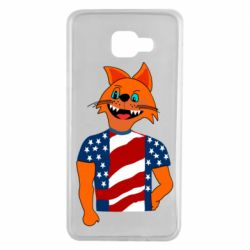 Чехол для Samsung A7 2016 Cat in American Flag T-shirt