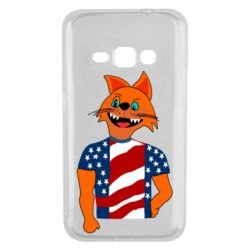 Чехол для Samsung J1 2016 Cat in American Flag T-shirt