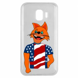 Чехол для Samsung J2 2018 Cat in American Flag T-shirt