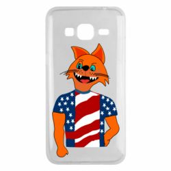 Чехол для Samsung J3 2016 Cat in American Flag T-shirt