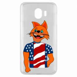 Чехол для Samsung J4 Cat in American Flag T-shirt