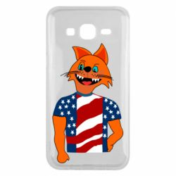Чехол для Samsung J5 2015 Cat in American Flag T-shirt