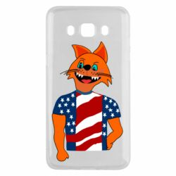 Чехол для Samsung J5 2016 Cat in American Flag T-shirt