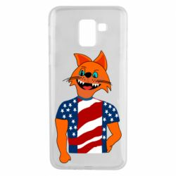 Чехол для Samsung J6 Cat in American Flag T-shirt
