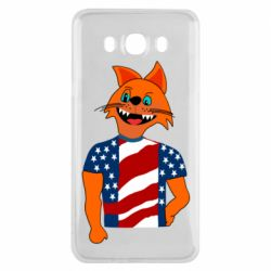 Чехол для Samsung J7 2015 Cat in American Flag T-shirt