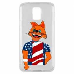 Чехол для Samsung S5 Cat in American Flag T-shirt