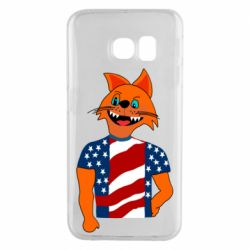 Чехол для Samsung S6 EDGE Cat in American Flag T-shirt