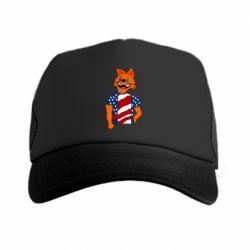Кепка-тракер Cat in American Flag T-shirt