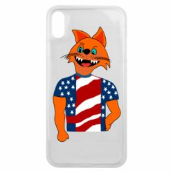 Чехол для iPhone Xs Max Cat in American Flag T-shirt