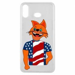 Чехол для Samsung A6s Cat in American Flag T-shirt