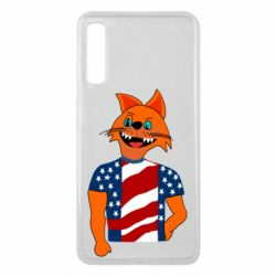 Чехол для Samsung A7 2018 Cat in American Flag T-shirt