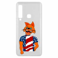 Чехол для Samsung A9 2018 Cat in American Flag T-shirt