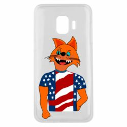 Чехол для Samsung J2 Core Cat in American Flag T-shirt