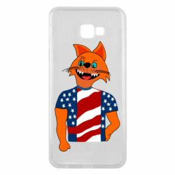 Чехол для Samsung J4 Plus 2018 Cat in American Flag T-shirt