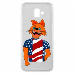Чехол для Samsung J6 Plus 2018 Cat in American Flag T-shirt