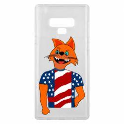 Чехол для Samsung Note 9 Cat in American Flag T-shirt