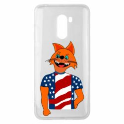 Чехол для Xiaomi Pocophone F1 Cat in American Flag T-shirt