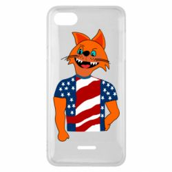 Чехол для Xiaomi Redmi 6A Cat in American Flag T-shirt