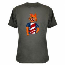 Камуфляжная футболка Cat in American Flag T-shirt