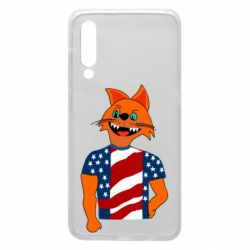 Чехол для Xiaomi Mi9 Cat in American Flag T-shirt