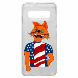 Чехол для Samsung S10+ Cat in American Flag T-shirt