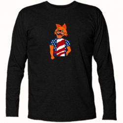Футболка с длинным рукавом Cat in American Flag T-shirt