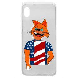 Чехол для Samsung A10 Cat in American Flag T-shirt