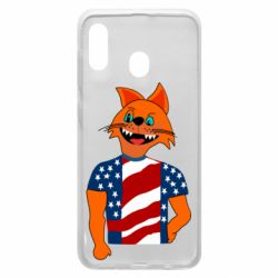 Чехол для Samsung A20 Cat in American Flag T-shirt