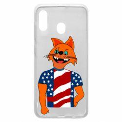 Чехол для Samsung A30 Cat in American Flag T-shirt