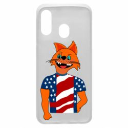 Чехол для Samsung A40 Cat in American Flag T-shirt