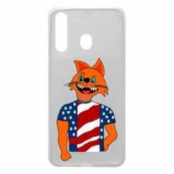 Чехол для Samsung A60 Cat in American Flag T-shirt