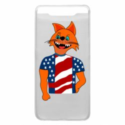 Чехол для Samsung A80 Cat in American Flag T-shirt